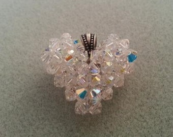 Crystal Puffy Heart Pendant made with Swarovski element bicones