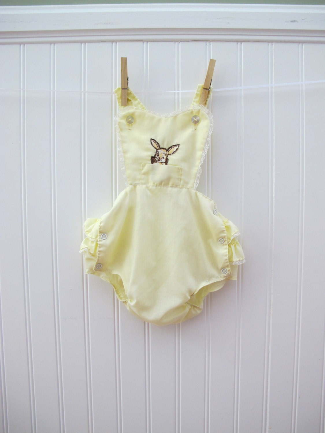 Romper Vintage Baby Clothes Yellow with Ruffles and Bunny