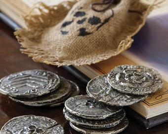 Full set of Handmade Pewter Pirate Coins