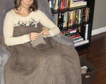 Large Knit Blanket / Knitted Afghan