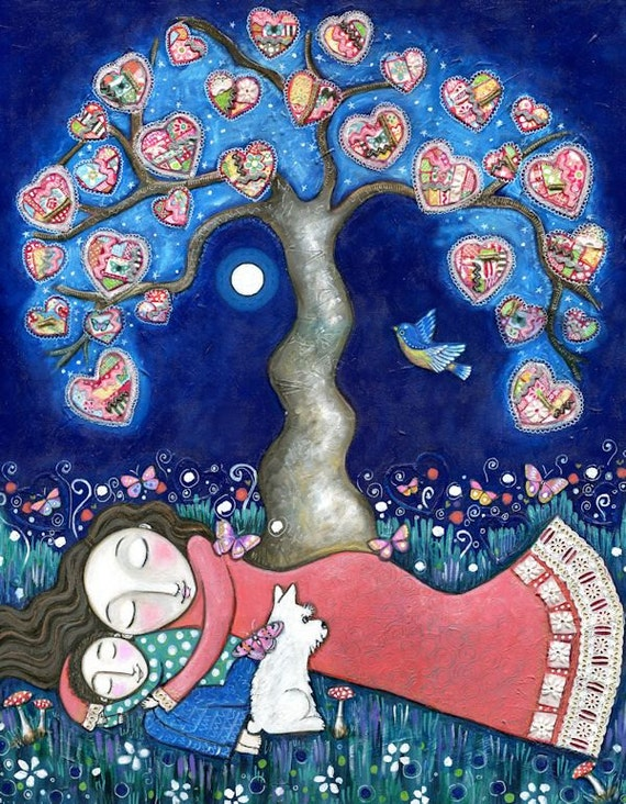 """Tree print whimsical folk art romantic wall decor women mother son scottie dog paper patchwork hearts mixed media painting - """"Nomads"""""""