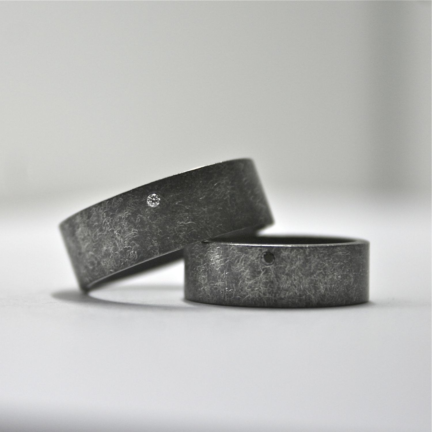 oxidized sterling silver and diamond black wedding band sets zoom