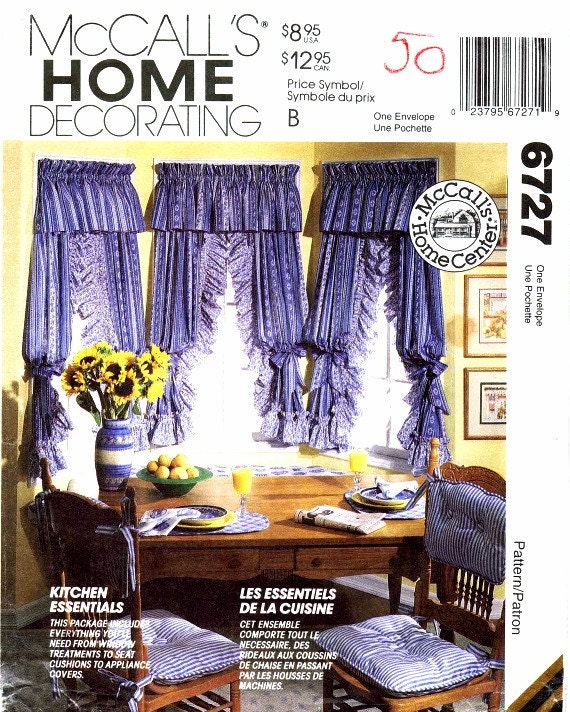 Kitchen Valance Curtains Appliance Covers McCalls 6727 Sewing
