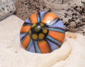 Lampwork Flower Ring Topper,  Fits European 2.5mm Interchangeable Jewelry, SRA LETEAM Glassymom Handmade