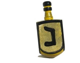 Gold Dreidel - Hanukkah Gift - Gold and Black Handpainted Dreidel, Judaica, Jewish Gift