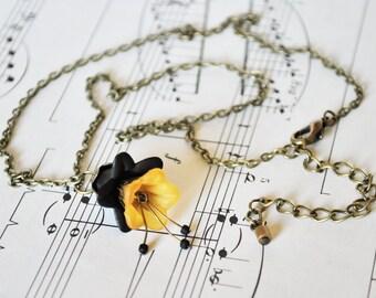 Black and Orange Vintage Style Flower Necklace