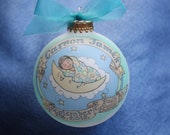 Baby Boy Baptism Ornament, Baby in the Moon, Handpainted, Personalized, and totally Original,WITH DISPLAY STAND