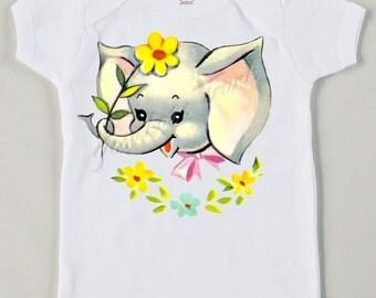 Vintage Baby Elephant Tee Custom Size Retro Tshirt