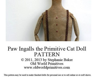 Primitive E-Pattern - Paw Ingalls the Primitive Cat Doll - PDF File Digital Download