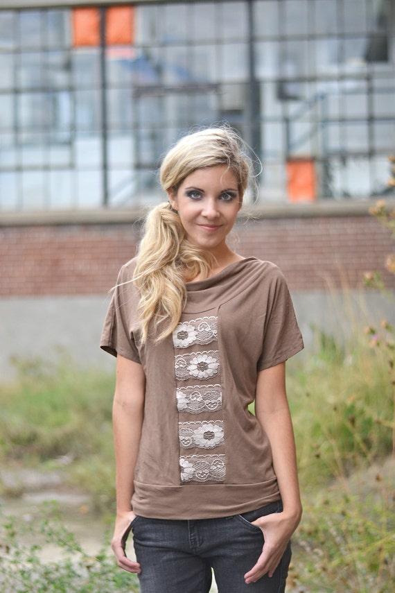 Nina vintage lace jersey top in eco friendly mocha Modal - last one