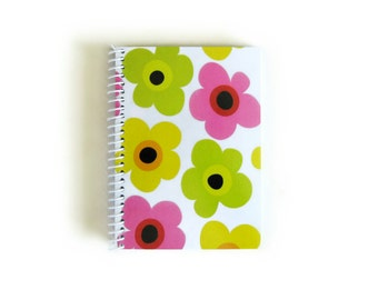 Spring Flowers Blank Notebook, A6, Spiral Writing Journal, Sketchbook, Spiral Bound, Modern Flowers, 4x6 Inches, Pocket, Back to School