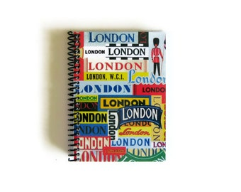 London Labels, Travel Journal, Blank Sketchbook, Diary Journal, A6 Notebook, Spiral Notebook, Spiral Bound Journal, 4x6 Inches Notebook