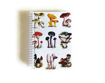 Mushrooms A6 Spiral Notebook, Sketchbook, Spiral Bound Writing Pocket Journal Diary, Small Recipes Notebook, Natural History, Gifts Under 15