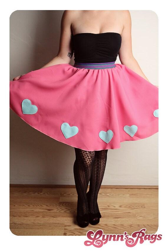 pink blue skirt handmade diy high waisted costume