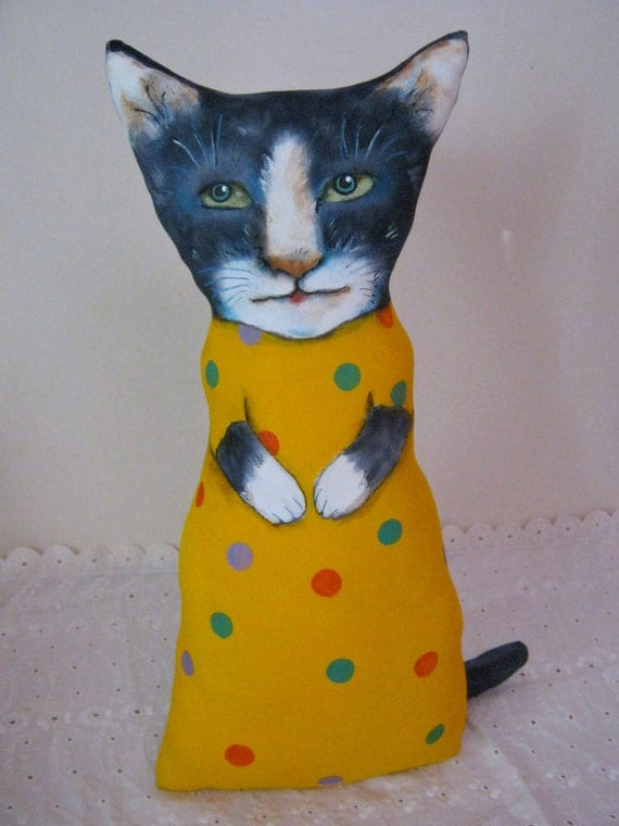 cat art doll ooak-  BIG kitty- handmade- hand painted- ooak doll- meow- black and white- happy colors