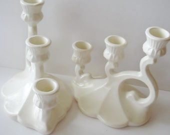 Weddings Decor - Candle Holder Set -Three Tier -  White High Gloss Glaze-   Mark 408 Vintage Pottery