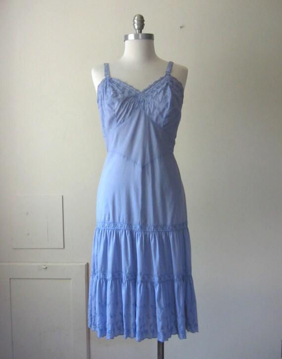Vintage Slip Dress 50s Eyelet Embroidery Cornflower Blue Tiered Slip