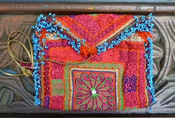 Wild Little Afghanistan tribal style change purse