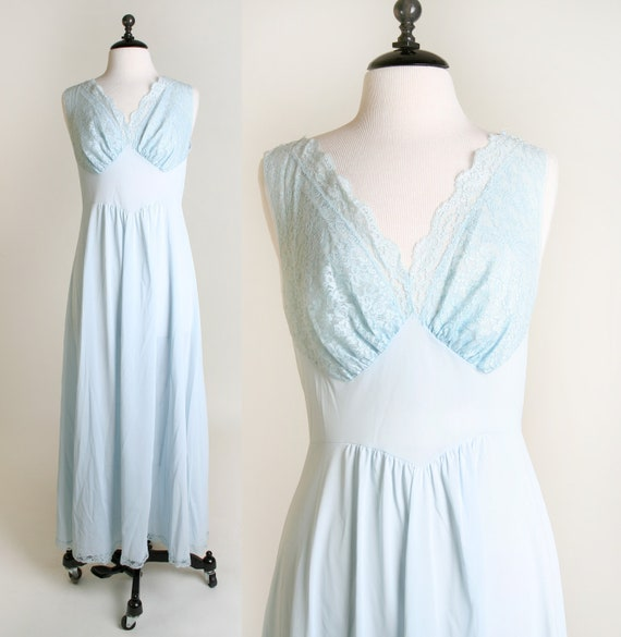 1960s Maxi Slip - Vintage Vanity Fair Nightgown in Soft Pastel Powder Blue - Large to XL