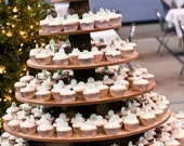 Cupcake or Pastry Stand (Tower / Holder) Six (6) Tier for Wedding or Special Event  - Rustic Wood Wooden