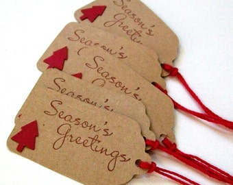Handmade Christmas Tags - Christmas Gift Tags, Seasons Greetings Tags, Holiday Tags in Deep Red on Kraft