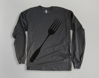 SALE Mens Fork T-shirt Long-sleeve Charcoal Gray T-Shirt gift for men Foodie gift for him t-shirt mens cool teen tshirt, for chef, for dad