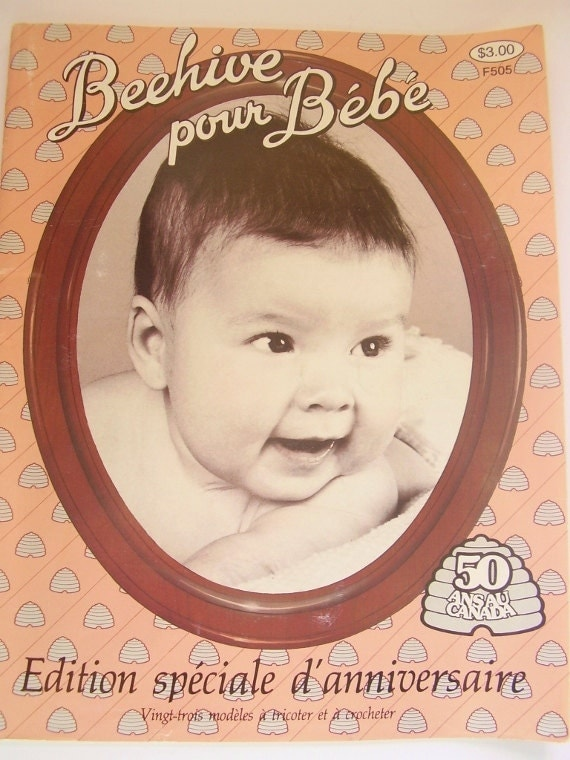 French pattern book, vintage crochet and knitting, heirloom, Patons Beehive pour bébé