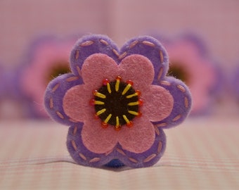 Set of 6pcs handmade felt flower--hyachinth/baby pink (FT829)