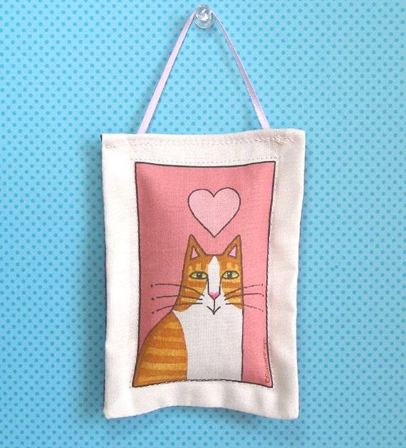 Orange Tabby Tuxedo Cat Handcrafted Lavender Sachet