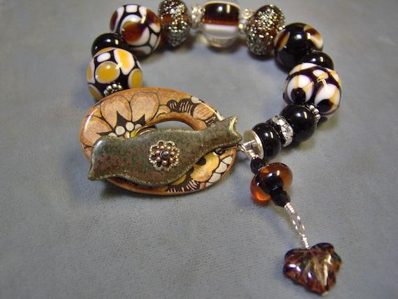 Lampwork Beaded and Ceramic Bracelet in Sterling Silver - Blacks, Golds and Browns - Artisan Bracelet - SRAJD - Art Beads-Cearmic Bracelet
