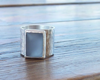 Blue ring, Blue Zircon statement ring, Wide band Gemstone ring, Rectangle gemstone ring,gift for her