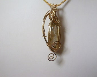 Gold Rutilated  Quartz Wire Wrapped in Gold Pendant