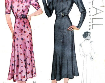 1930s Dress Pattern McCall 9074 Gored Skirt Evening Dress Cutout Bodice Gathered Sleeves Womens Vintage Sewing Pattern Bust 42