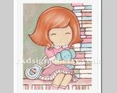 Baby girl nursery decor, childrens wall art, kids room decor, read, books, red hair, Balance