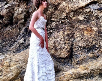 Feathered Corset Gown / sample sale
