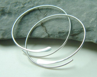 Sterling Silver Open Hoops Hammered Large Silver Hoop Earrings, recycled eco friendly jewelry gift for women, Choose Your Size