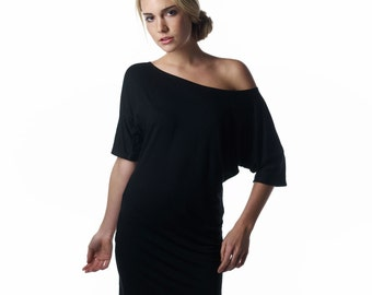 Off The Shoulder Dress, off shoulder dress, classic black dress, one shoulder dress, off the shoulder tops, made in USA, lamixx, dresses