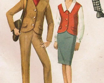 1960s Simplicity 6131 Vintage Sewing Pattern Misses' Blouse, Jacket, Skirt, Pants Size 14 Bust 34