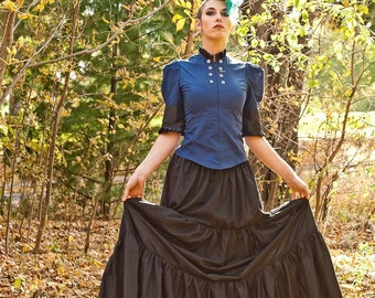 Long Cotton Petticoat - Gypsy Pirate - Steampunk Gothic Bohemian Skirt Floor Length - Petite to Plus size - Custom to Order XS-5XL