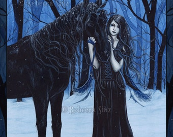 Midnight Travelers PRINT Gothic Fairy Unicorn Winter Black Blue Snow Fantasy Art Watercolor 3 SIZES