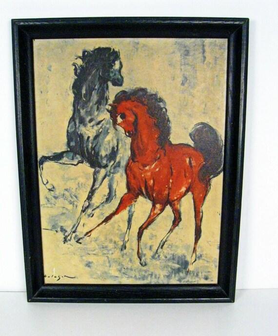 Vintage Horses Framed Print Denis V Holeget 20 X 26