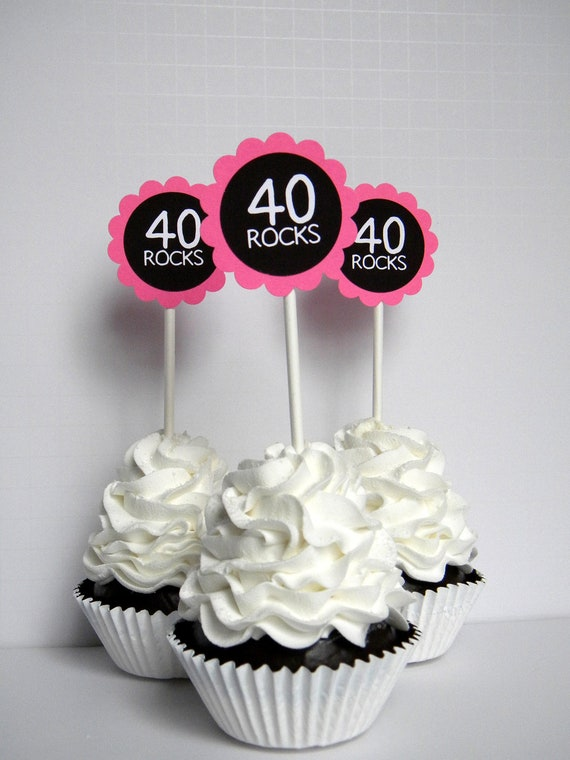 Cupcake Decorating Ideas Pink And Black : 40 Rocks 40th Birthday Cupcake Toppers Hot Pink and Black