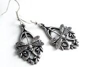 Silver Dragonfly Earrings - Silver Dangle Earrings - Dragonfly Jewelry - Silver Earrings - Silver Dragonflies