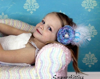 Vintage Flower Hair Clip Fascinator - Toddler/Girl Lace Flower Clip - Blue Lady's Feather Fascinator Hair Clip - Wedding, Pageant
