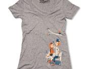 Fox Tshirt, Womens Fox Shirt, Dapper Foxes, VNeck Athletic Grey, Available S M L XL XXL
