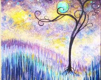 Moon and stars, original square 12x12 modern cosmos painting, Tree art