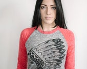 unisex Native American Indian burnout baseball tee size xs