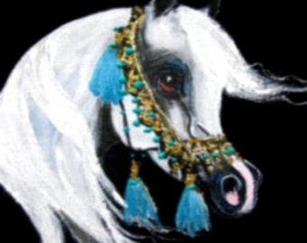 Arabian Horse art sweatshirt  hand painted native halter size L ARGE Turquoise tassels Nancy