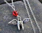 Toothy the Flying Tooth Necklace - cute sterling silver tooth with wings &  a red heart on sterling chain - for dentist, dental hygienist