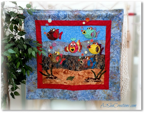 RESERVED FOR JACKIE C - Children's Fun Fish Quilted Wall Hanging or Reversible Throw